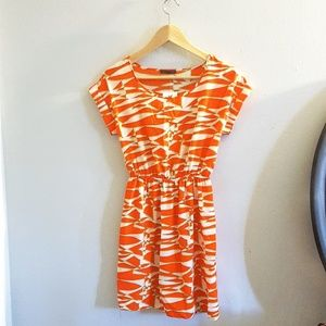 Bold Orange Print Soprano Mini Dress